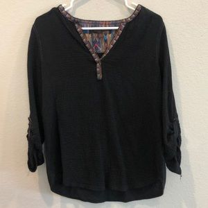 Anthropologie Black 3/4 Tee